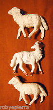 3 pecore sheeps del presepe crib vintage made in italy pecorelle a colori colors