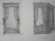 Tentures Croisée Lit 4 Colonnes LOUIS XIII le MAGASIN de MEUBLES V.QUETIN XIXéme