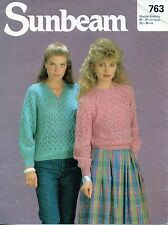 ~ Sunbeam Knitting Pattern For Lady's Lacy Sweaters ~