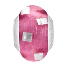 Lovelinks Bead Sterling Silver, Hot Pink Silver Foil Murano Glass Jewelry TM627
