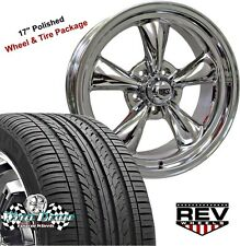 "17x7""-17x8"" POLISHED REV CLASSIC 100 WHEELS & TIRES FOR CHEVY MALIBU 1975 1976"