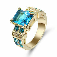 Women's Blue Aquamarine Zircon Wedding Band Ring 10KT Yellow Gold Filled Size 9