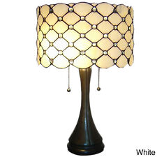 "Table Lamp Tiffany-Style Stained Glass White Jewels Shade Bronze Finish 22"" High"