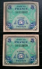 Émis en France Cinq 5 Francs 1944 Military Currency Near-consecutive Serial