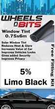 Window Tint 0.75 x 6M Roll 5% Limo Black Solar Film UV Insulation Fitting Kit