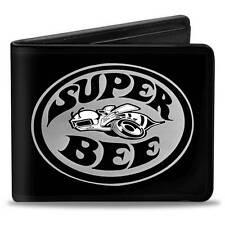 Men Wallet Bifold Dodge SUPER BEE Logo Black Grays White Trucker Genuine