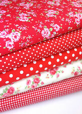 RED FLORAL FABRIC BUNDLE FAT QUARTERS 100% COTTON CRAFT QUILTING PATCHWORK 22""