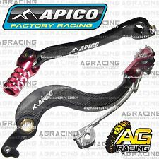 Apico Black Red Rear Brake & Gear Pedal Lever For Honda CRF 450X 2005-2016 MotoX