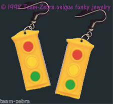 Funky TRAFFIC STOP LIGHT SIGNAL EARRINGS Police Cop Car Driving Costume Jewelry
