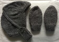 HAND KNITTED BABY HAT & MITTS - BIRTH TO 3 MONTH DARK GREY