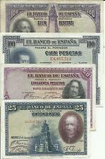 SPAIN LOT REPUBLICA 4 DIFFERENT NOTES. SPANISH WAR. VF CONDITION. 3RW 22 abril