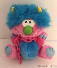 "1980s KUDDLEE UGLEE 6"" My Pet Monster Plush Blue Pink Chain Tara Toys Vintage"