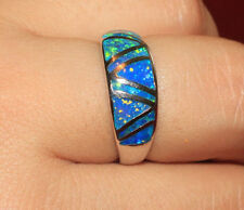 fire opal ring gemstone silver jewelry Sz 6.5 7.5 8.5 wedding engagement band L