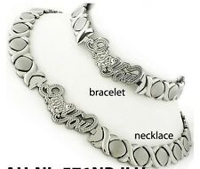 ladies X&O necklace & bracelet set white  gold finish stainless steel I love you