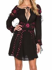"""***NEW $259 FOR LOVE & LEMONS """"NICCOLA"""" EMBROIDERED MINI DRESS IN BLACK SIZE XS*"""