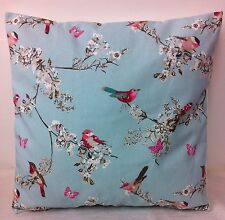 """1 NEW 14"""" Blue  and Pink Bird Print Shabby Chic Cushion Cover"""