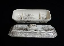 Atq RAZOR DISH or BOX by John Alcock(?) - Scenic Black Transferware, Cir 1800's