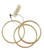 NEW RALPH LAUREN WOMEN'S ROUND TUBE BANGLE THIN BRACELET SET OF 3 GOLD PLATED