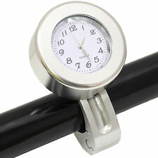 "RYDE SILVER ANALOGUE MOTORCYCLE HANDLEBAR CLOCK/WATCH 22MM/7/8"" MOTORBIKE/BIKE"