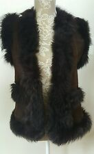 Shearling Brown Leather Vest Jacket 100% Sheepskin Long Haired Fur by Diem S/M