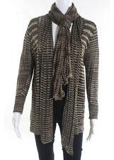 ELIE TAHARI Dark Brown Striped Linen Draped Scarf Cardigan Sweater Sz S