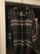 BURBERRY BRIT Black/Gray Plaid Check Tunic Shirt, sz XS