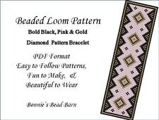 Black, Gold, & PInk Beaded Loom PDF Pattern for Delica or Seed Beads Bracelet