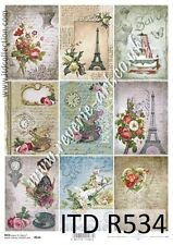 Rice paper for Decoupage/A4 size/ITD/ Vintage Paris script small for soap 534