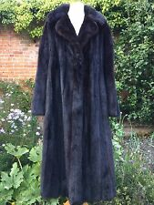 TRUE VINTAGE Genuine MINK FUR HARRODS GROSVENOR SABLE BLACKGLAMA COAT M L