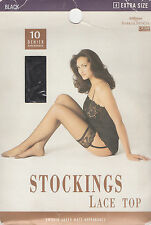 MARKS & SPENCER - 10 DENIER BLACK STOCKINGS LACE TOP - EXTRA SIZE - (BRAND NEW)