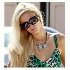 Celebrity Inspired Bowknot Green Gem Diamante Statment Collar Choker Necklace UK