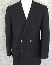 Oxxford Clothes Men's Gray Pinstriped Dbl Breasted Suit Winter Weight 41L 35x33