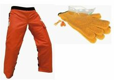 "ORANGE SAFETY CHAPS EYE EAR GLOVES COMBO Apron Style Reg. length 35"" - 37.5 """