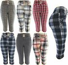 Women's Checked Printed Comfy Skinny Jeggings Stretch Sexy Capri Pants Leggings