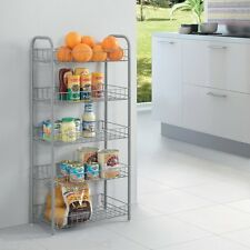 MONACO KITCHEN DINNING 5 TIER METAL SILVER VEGETABLE FRUIT STORAGE RACK TROLLEY