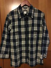 Blue Willi's Denmark Mens Zipper Shirt Jacket Blue Plaid Small European Hipster