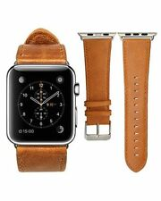 For Apple Watch Band Orange Vintage Genuine Leather Strap Wrist Band iwatch 42mm