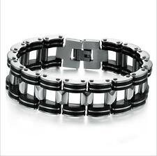 Stainless Steel Black Rubber Silicone Motorcycle Bike Chain Mens Link Bracelet