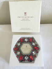 Pottery Barn Red Rhinestone Acrylic Silver Metal Photo Frame Hexagon Set of 2