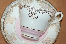 Beautiful Vintage Pink and Gold Tea Set for One - Lovely Bone China