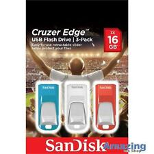 SANDISK CRUZER EDGE 16GB USB Memory Stick 3 Pack Flash Drive USB 2.0 Windows 10