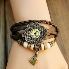New Women Heart Fashion Quartz Wrist Watches Leather Strap bracelet Coffee 151