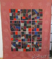 Folky 1900s Antique Crazy Quilt CONTAINED Stars on Border MENNONITE PA