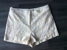"""New look cameos rose lace detail cream summer shorts size 8 10 12 30"""" waist"""
