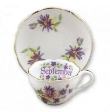 Reutter Porcelain Flower of the Month Mini Tea Cup & Saucer Gift Set SEPTEMBER