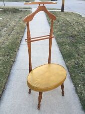 Mid Century Babcock Phillips Maple Valet Butler Chair w/ Yellow Flux Leather