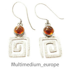 Silber Ohrringe Bernstein Spiral e silver earrings amber