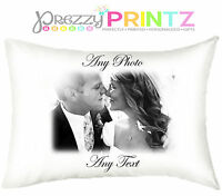 PERSONALISED PILLOWCASE ANY TEXT ANY PHOTO CHRISTMAS WEDDING VALENTINES DAY GIFT
