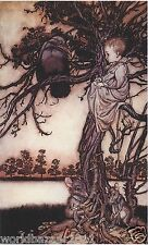 ARTHUR RACKHAM PETER PAN IN KENSINGTON GARDEN BLACK CROW FAIRYTALE MOUNTED PRINT