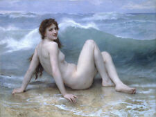 Stunning huge Oil painting nude female portrait young bather & ocean waves 36""